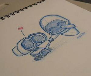 love, wall-e, and drawing image