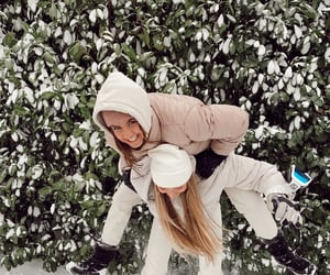 besties, fun, and snow image