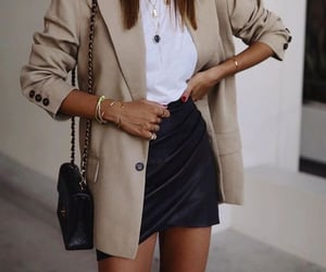 bag, cream, and necklace image