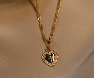 gold, pendant, and heart image