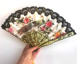 etsy, folding fan, and floral flowers image