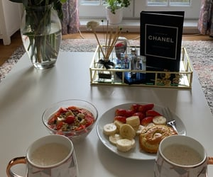 breakfast, cappuccino, and chanel image