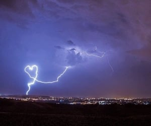 sky, heart, and lightning image