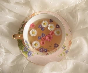 flowers, tea, and aesthetic image