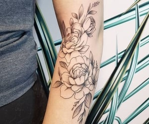 flowers, peony, and ink image