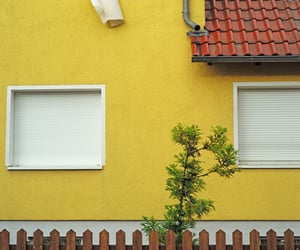 building, minimalism, and yellow image