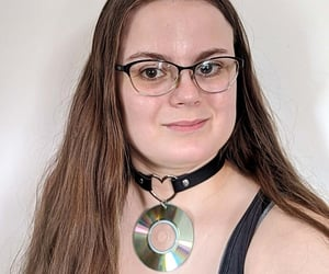 brunette, choker, and goth image