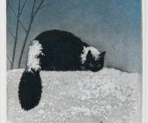 art, snow, and cat image