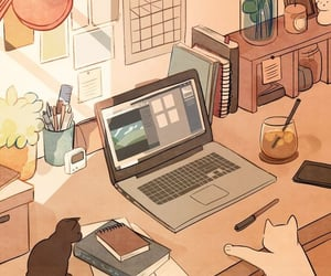 aesthetic, cat, and anime image