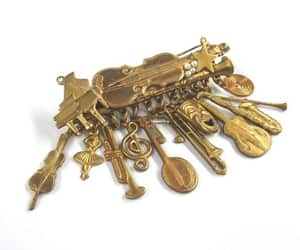 instruments, holiday brooch, and musical brooch image