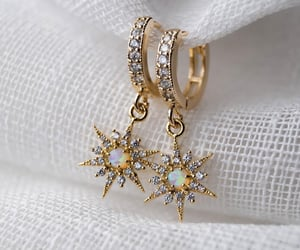 earrings, fashion, and gold image