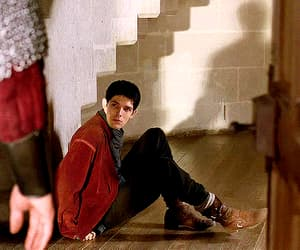 tv show, merlin emrys, and gif image