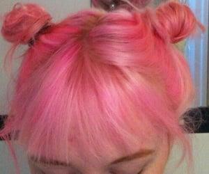 bangs, bleached hair, and bun image