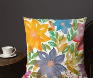 florals, watercolor painting, and floral pillow image