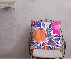 florals, watercolor painting, and washable pillow image