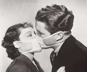 kiss, couple, and black and white image