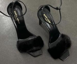 black, fur, and heels image