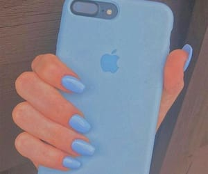 blue, iphone, and blue nails image