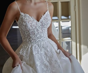 ball gown, bride, and glitter image