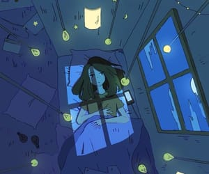 night, girl, and light image