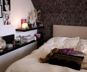 bed, bedroom, and beautiful image
