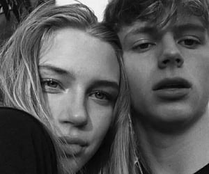 black and white, couple, and girl image