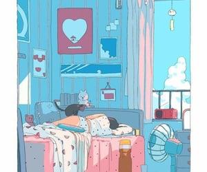 illustration, art, and blue image