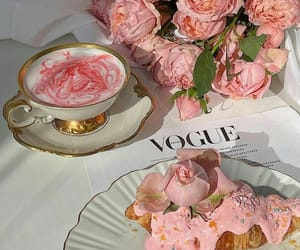 flowers, rose, and drink image