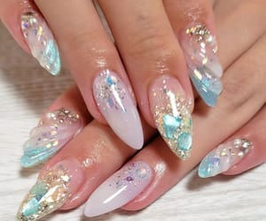 blue, chic, and nails image