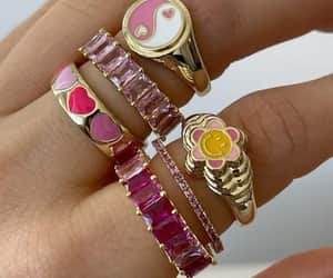 golden, pink, and rings image