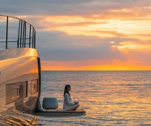 relaxing, sea, and yoga image
