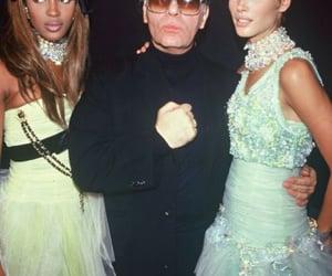Naomi Campbell, Christy Turlington, and karl lagerfeld image