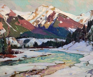 art, color, and mountains image