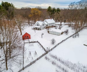 aerial view, farm, and winter image