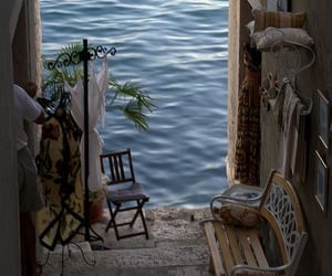 cozy, water, and bench image