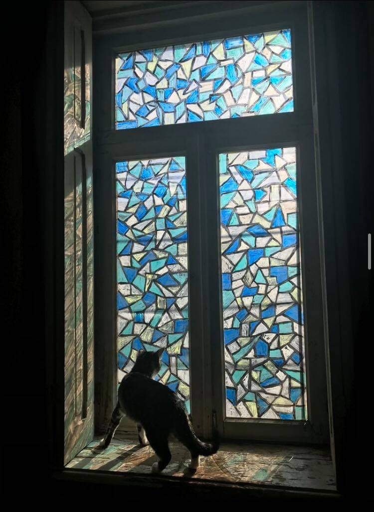 art, cat, and window image