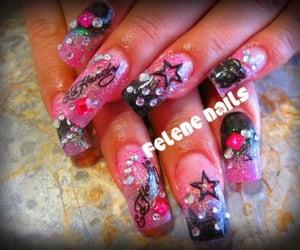tacky, ed hardy nails, and acrylics image