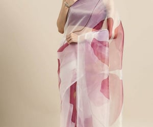 satin saree, floral print saree, and cocktail saree image