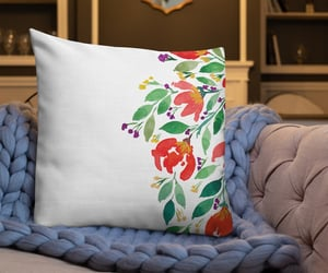 leaves, watercolor painting, and floral pillow image