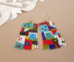 etsy, tassel earrings, and multicolor earrings image