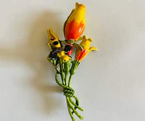 bright yellow flower, etsy, and flower brooch image