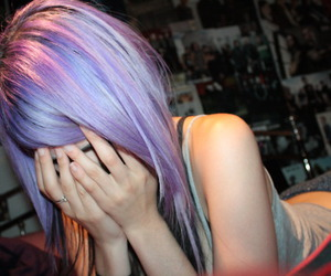 girl, purple hair, and hair image