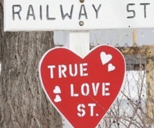 hearts, street sign, and red image