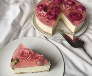 cake, flowers, and delicious image