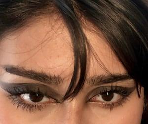 bangs, eyebrows, and makeup image