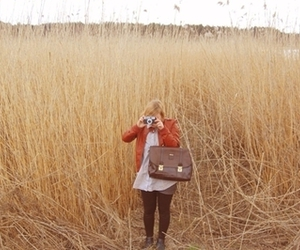 camera, field, and girl image