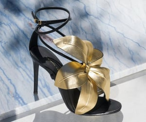 black heels, black shoes, and flowers image