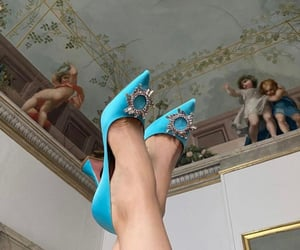 blue, haute couture, and blue heels image