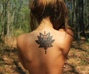 girl, lotus flower, and namaste image
