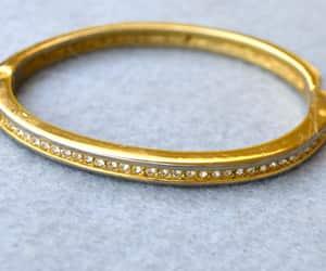Roman Hinged Rhinestone Bangle Bracelet Vintage